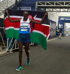Weldon Kirui winning the LA Marathon in Skechers