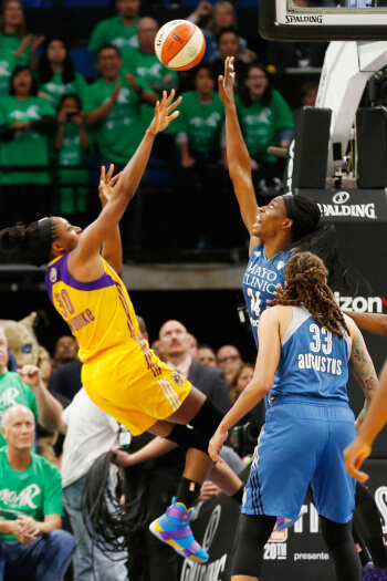 Nneka Ogwumike (left) in the Nike Zoom LeBron Soldier 10. From the AP
