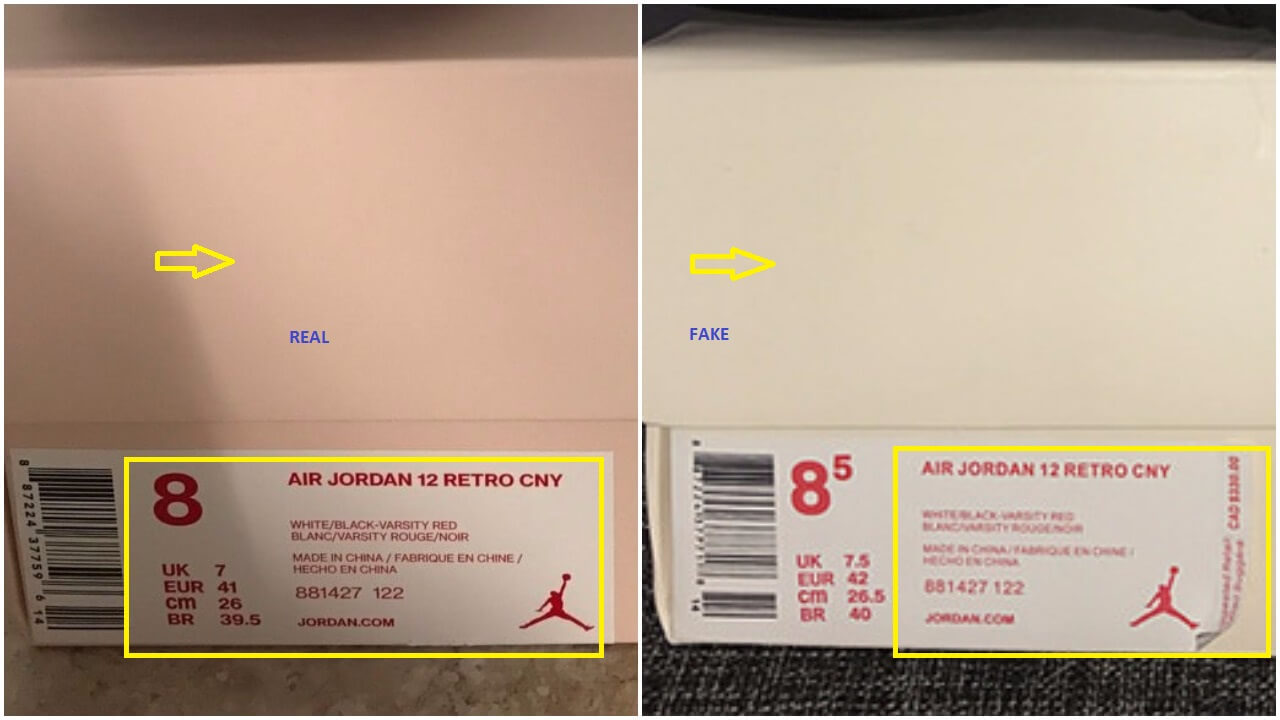 Real vs fake air jordan 12 chinese new year cny arch usa and the gap between the rectangular shape containing the jordan text and the edge of the midsole is bigger on the authentic pair see yellow arrow buycottarizona Choice Image