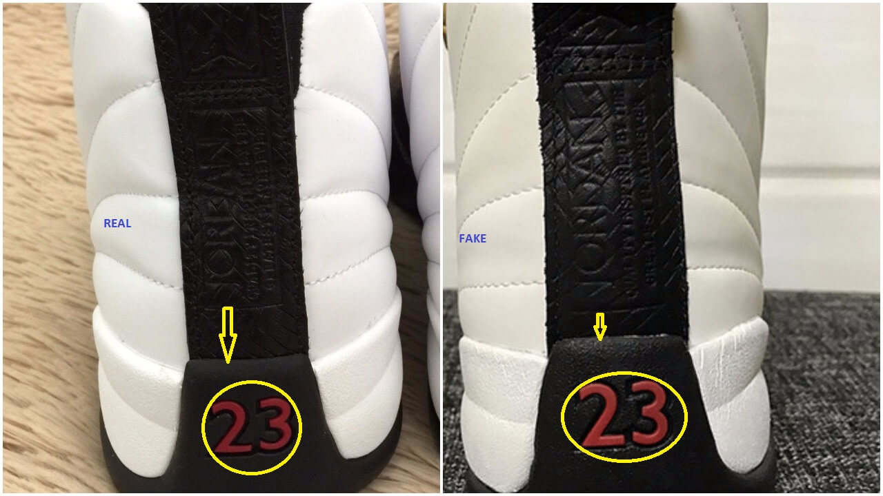 Real vs fake air jordan 12 chinese new year cny arch usa the number 23 appears bigger on the fake pair and the gap between the rectangular shape containing the jordan text and the edge of the midsole is buycottarizona Choice Image