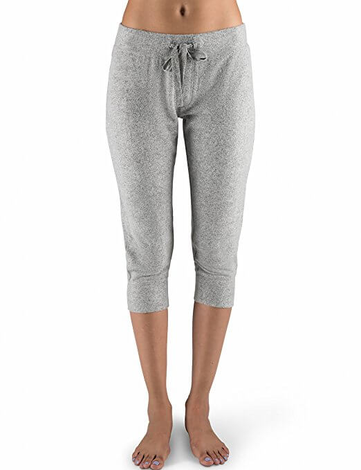 Rebel Canyon Young Women's Super Soft Brushed Jersey Cropped Jogger Sweatpant with Stitching Details X-Small Grey Heather Marl