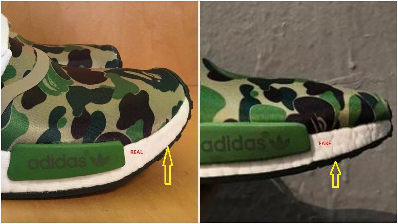 best website cd255 b2ff0 Real Vs Fake Bape Adidas NMD R1 BA7326 Green Camo – ARCH-USA
