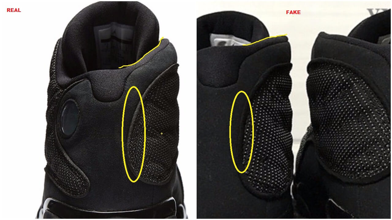 new concept b103c 5e495 Real VS Fake Air Jordan 13 XIII Retro Black Cat, Beware ...