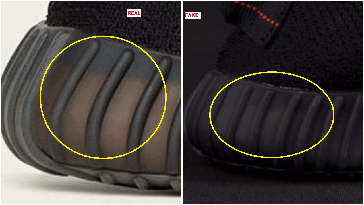 3d31c92ba ... The yellow circle also shows you how the back is steeper and sturdy on  the real  Fake Yeezy v2 Adidas Yeezy Boost 350 V2 Replica Core Black ...