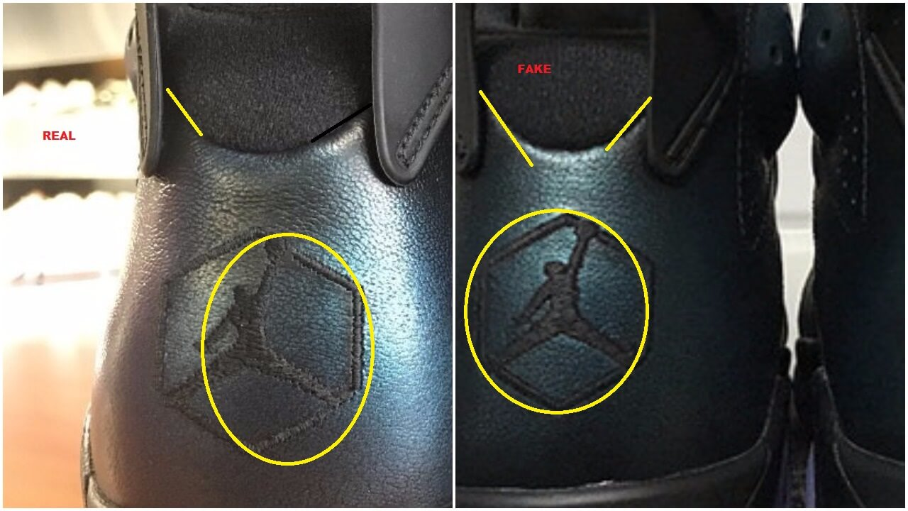 45a17e93310c67 The jumpman does not look the same and the lining on the back has a deeper  cut on the fake pair ( a little more steep on the fakes