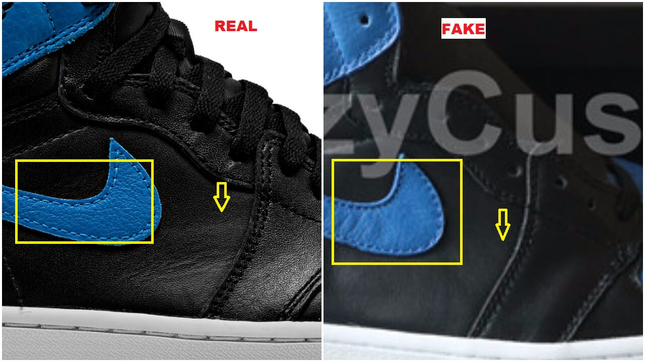 The swoosh logo seems to have bumps and is wavy on the fake pair; the panel  leather on the authentic is grainy, rich and buttery looking while the fakes  ...