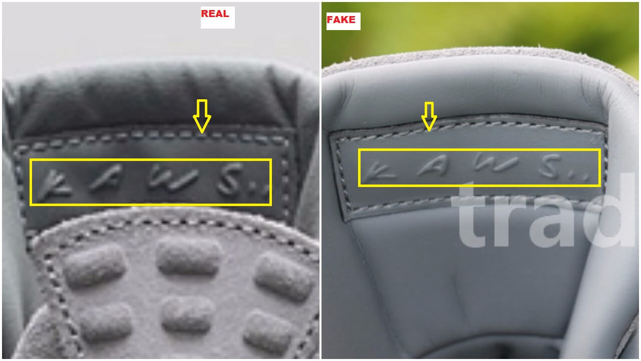 "The bumps on the heel tab are much thicker on the authentic pair than they  are on the fakes  the ""Kaws"" wording is legible on the real pair than it is  on ... 328ee764e"