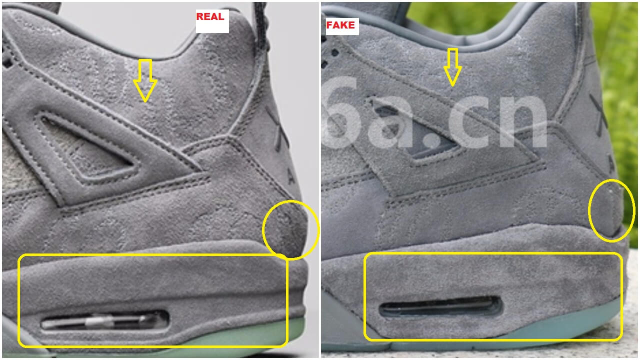 The heel counter on the authentic pair is oblique in comparison to the  vertical heel counter on the fakes ( see yellow circle). 2c61eba8f