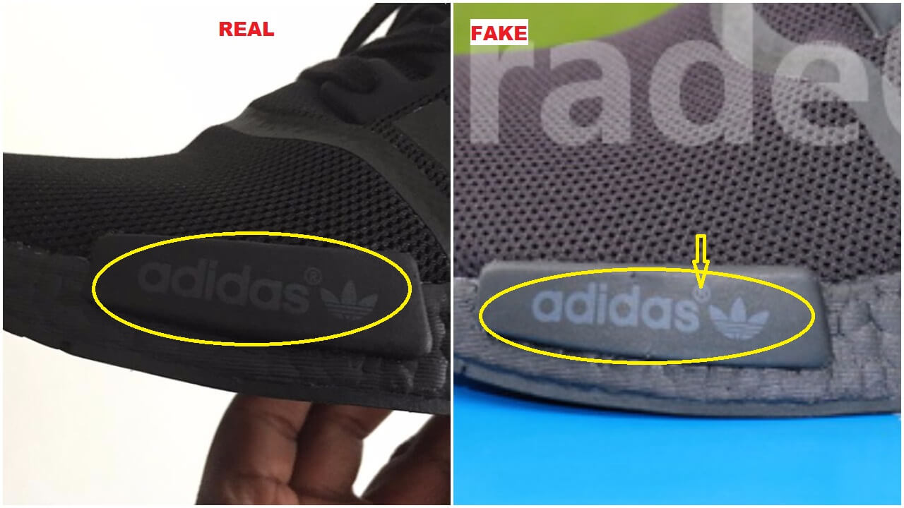 "finest selection 191ca 9f877 I might be exaggerating on this one but if you look close enough at the  Adidas wording, it appears crooked on the fake pair. And you can also see  that the "" ..."