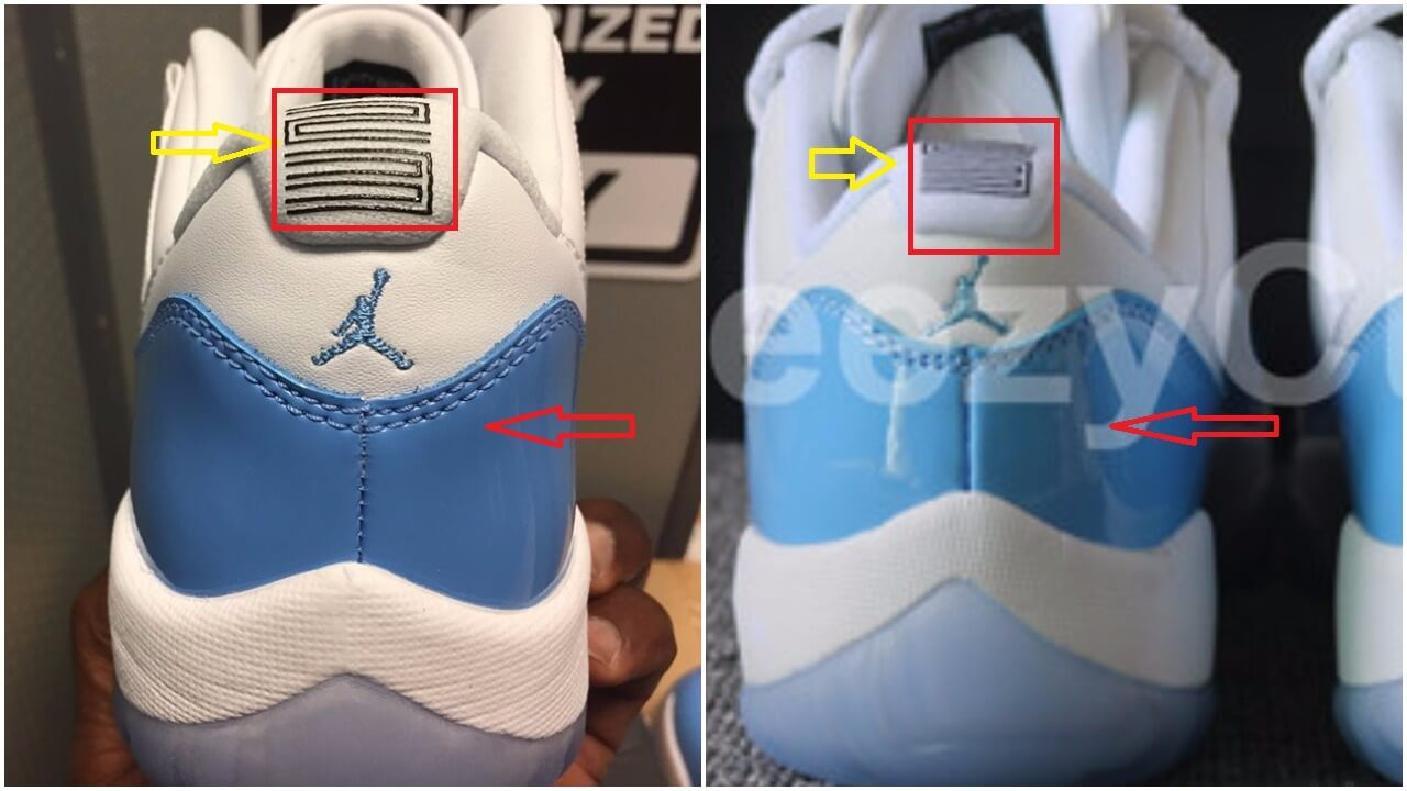 92868d1d6677a6 The patent leather on the authentic pair is carolina blue in contrast to a  lighter ocean blue patent leather on the fakes. The Jumpman is correctly  centered ...