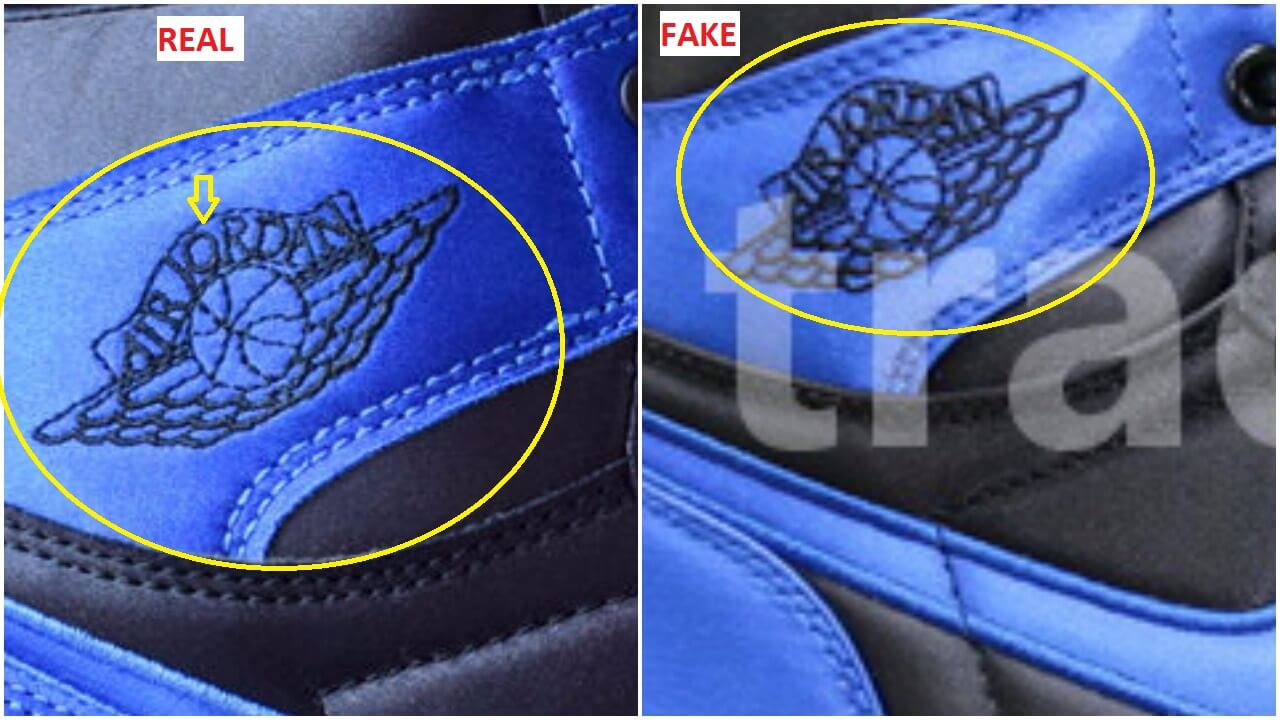 96f38667c40a6e ... when I came across the fake pairs a week ago. Here is a quick  comparison between the real and the fake air Jordan 1 royal satin for your  convenience.