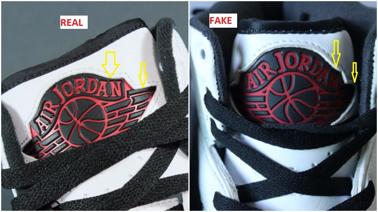 The Jordan wings logo is more extended at its edges on the authentic pair  than it is on the fakes, see yellow arrows.