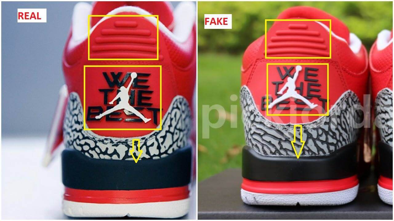 39ff6f92d48 You can definitely see how higher the cement print overlay is on the fakes  ( check the yellow arrows). The position and shape of the jumpman isn t the  same ...